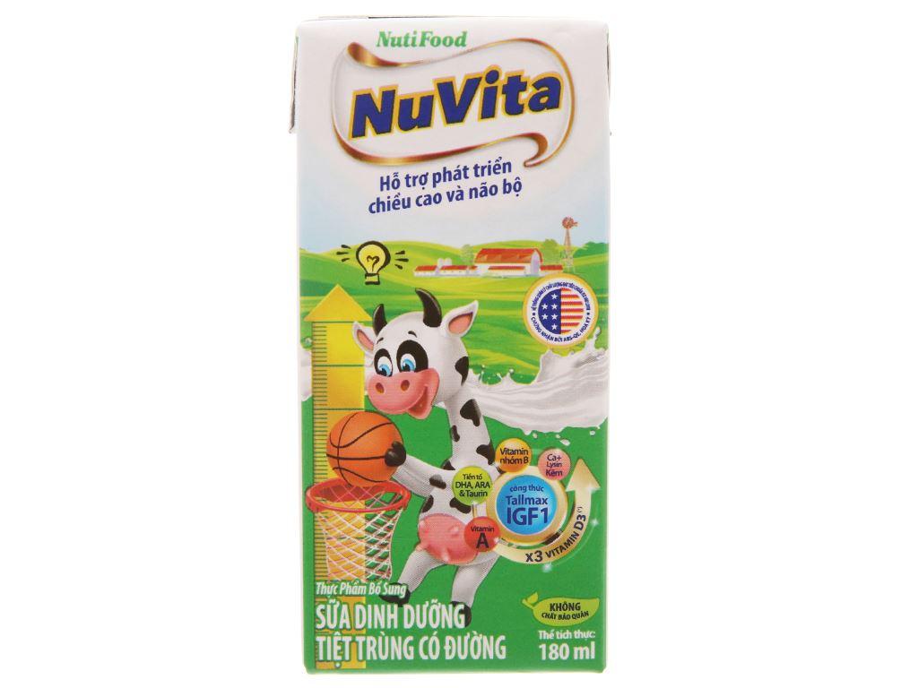 Sữa tiệt trùng NutiFood Nuvita có đường hộp 180ml 3