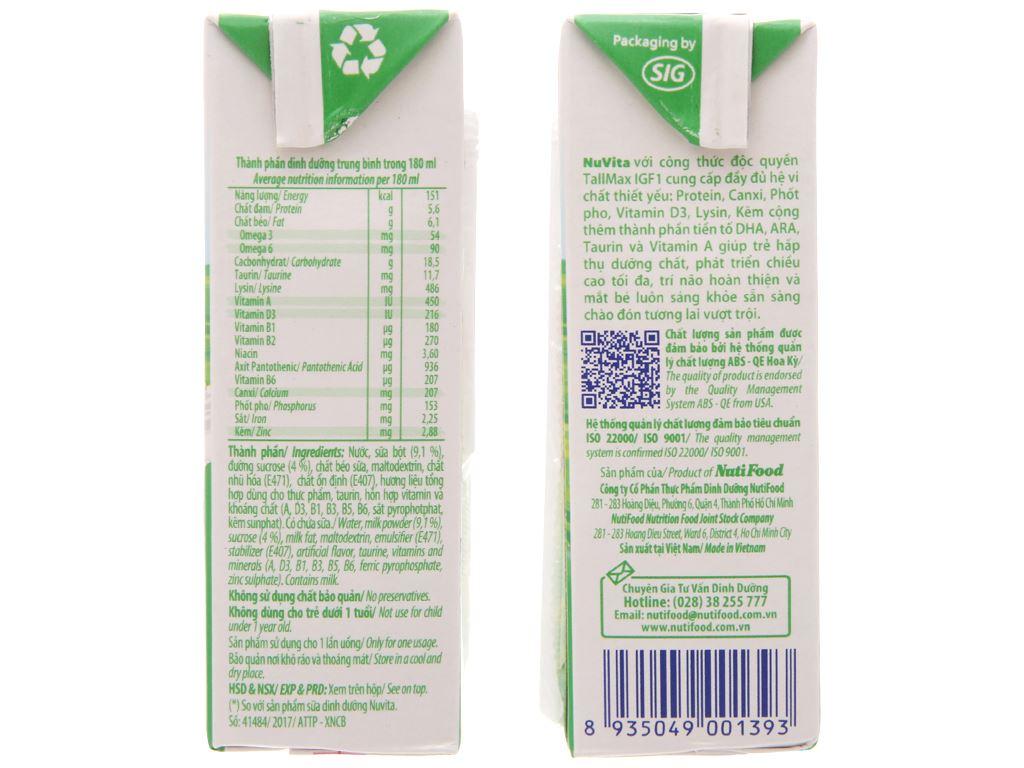 Sữa tiệt trùng NutiFood Nuvita có đường hộp 180ml 5