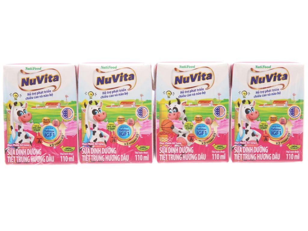 Sữa tiệt trùng NutiFood hương dâu hộp 110ml 1