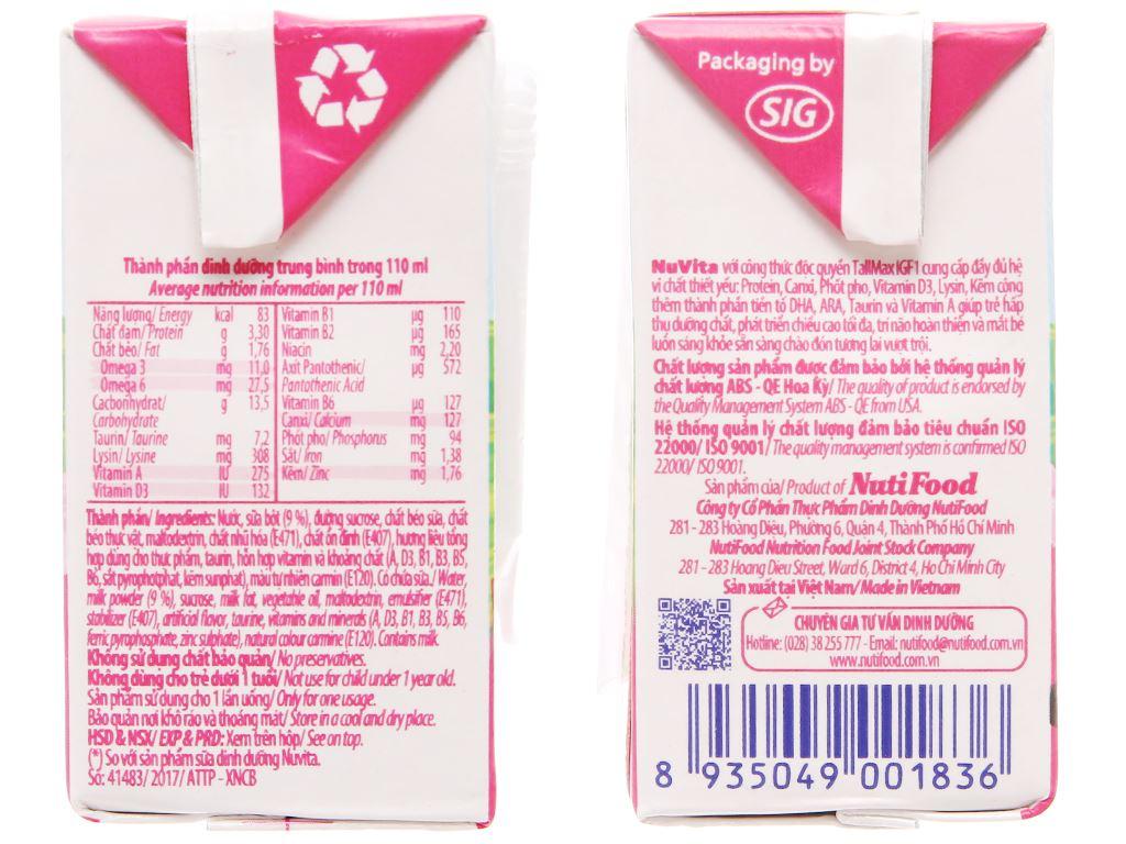 Sữa tiệt trùng NutiFood hương dâu hộp 110ml 4