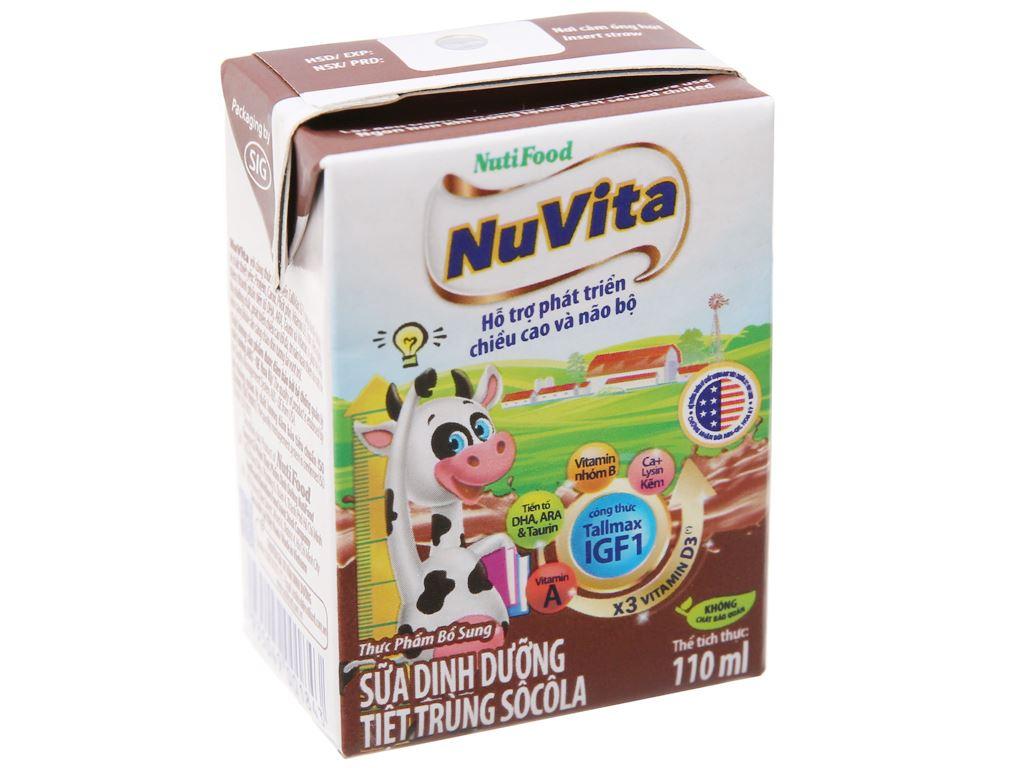 Sữa tiệt trùng NutiFood sô cô la hộp 110ml 2