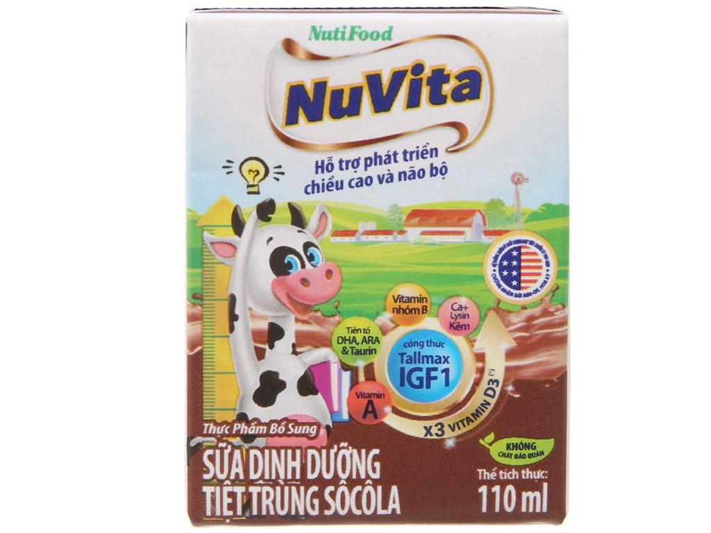 Sữa tiệt trùng NutiFood sô cô la hộp 110ml 3