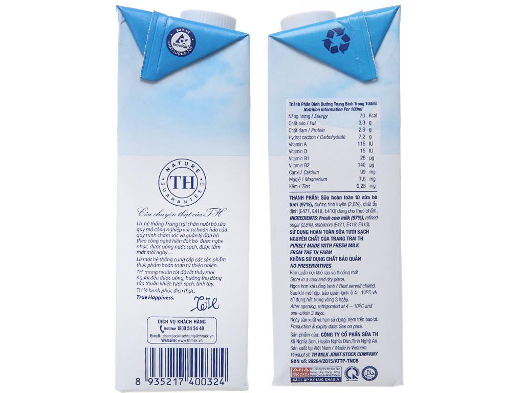 Sữa tươi tiệt trùng ít đường TH true MILK hộp 1 lít 5
