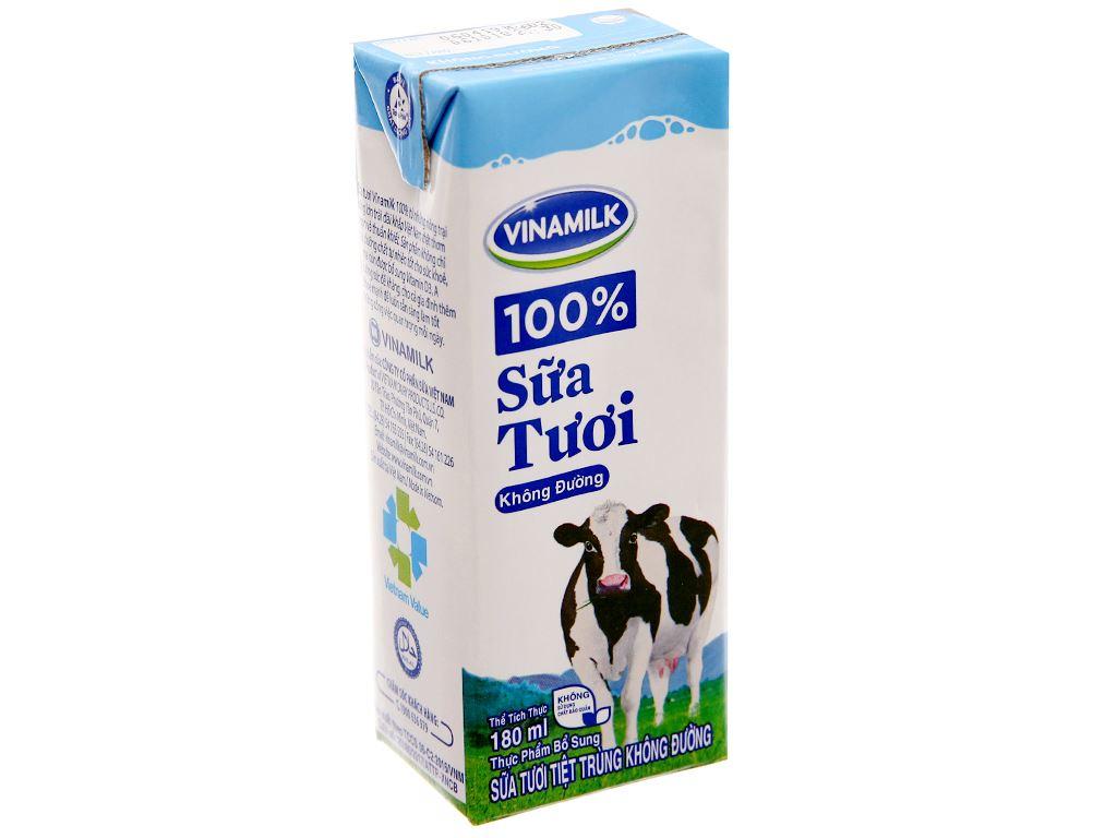 Sữa tươi tiệt trùng Vinamilk không đường hộp 180ml 2