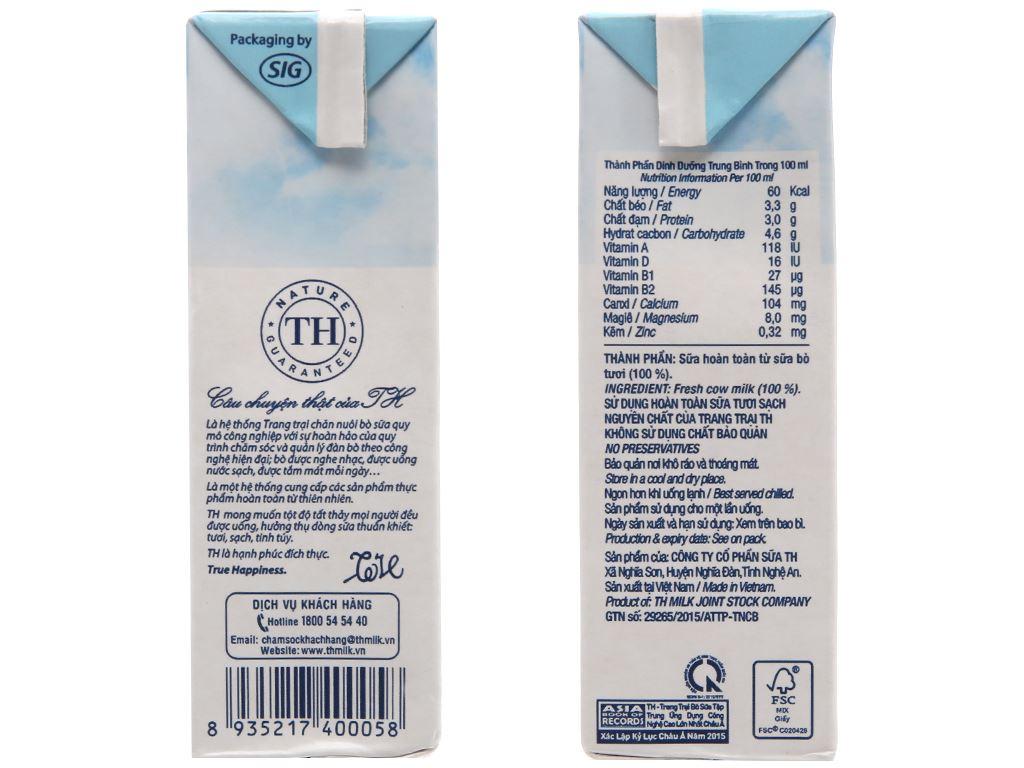 Sữa tươi tiệt trùng TH true MILK nguyên chất hộp 180ml 5