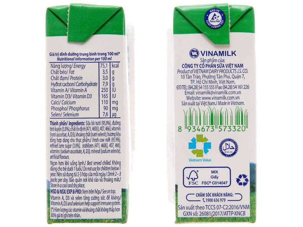Sữa tươi tiệt trùng Vinamilk có đường hộp 110ml 5