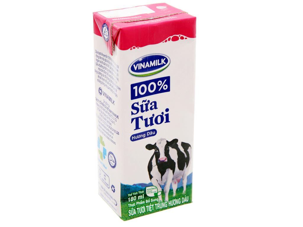 Sữa tươi tiệt trùng Vinamilk 100% Sữa Tươi hương dâu hộp 180ml 2