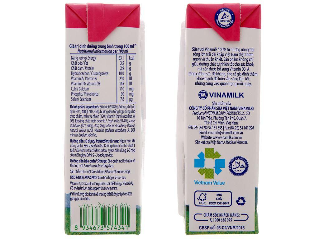 Sữa tươi tiệt trùng Vinamilk 100% Sữa Tươi hương dâu hộp 180ml 5
