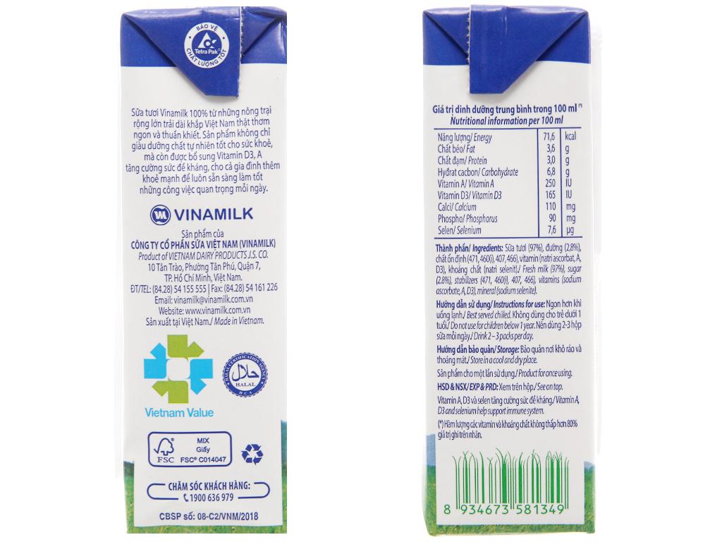 Sữa tươi tiệt trùng Vinamilk ít đường hộp 180ml 5