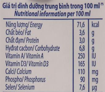 Sữa tươi tiệt trùng Vinamilk ít đường hộp 180ml 6
