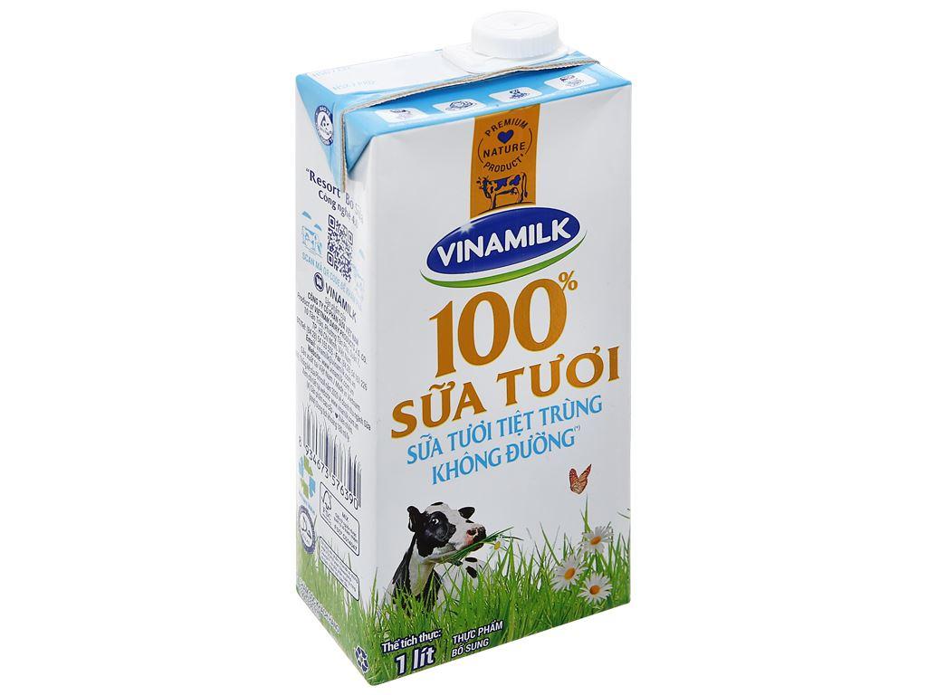 Sữa tươi không đường Vinamilk hộp 1 lít 1