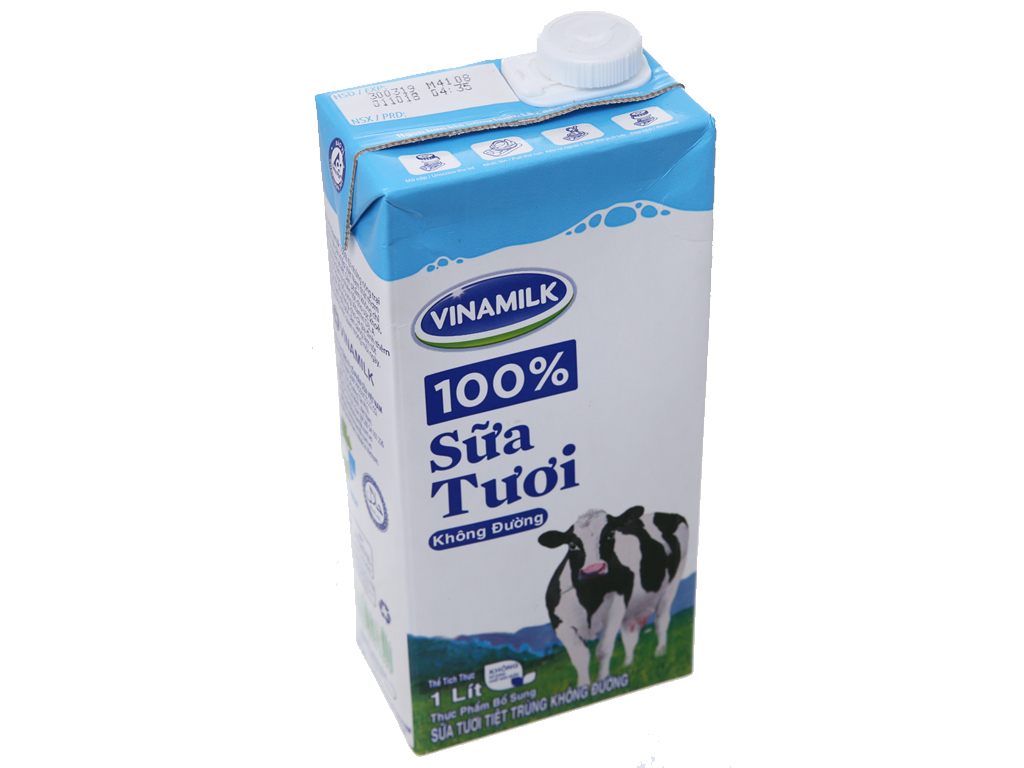 Sữa tươi tiệt trùng Vinamilk 100% Sữa Tươi không đường hộp 1 lít 4