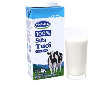 Sữa tiệt trùng Vinamilk 100% Sữa Tươi không đường hộp 1 lít
