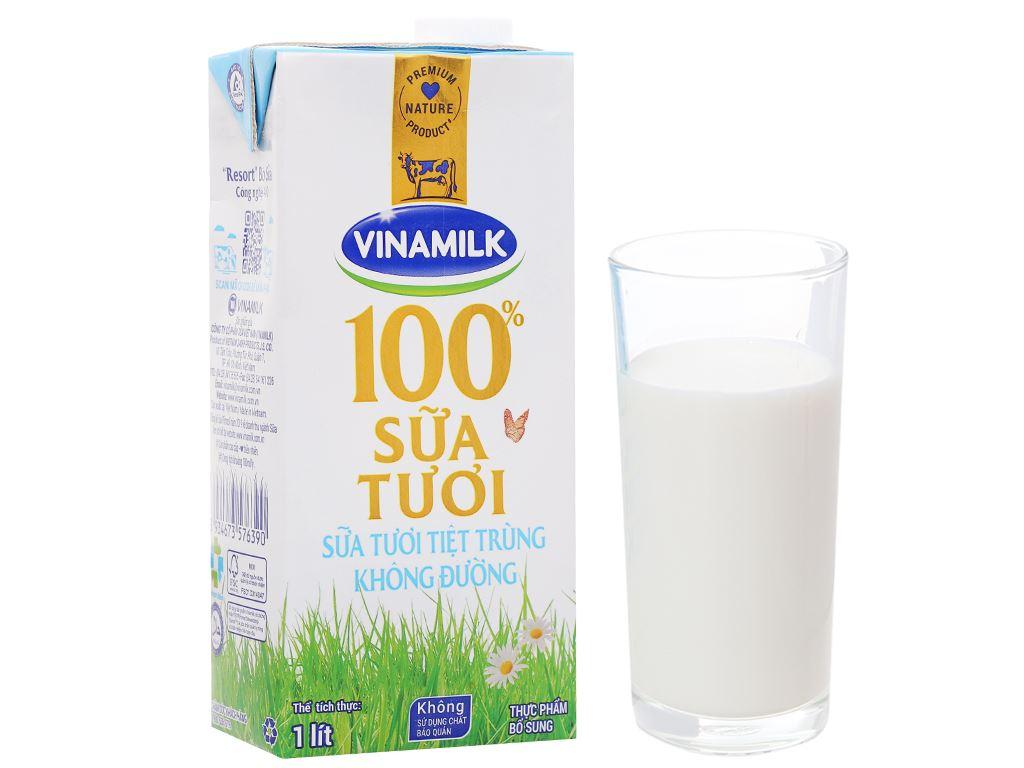 Sữa tươi không đường Vinamilk 100% Sữa Tươi hộp 1 lít 7