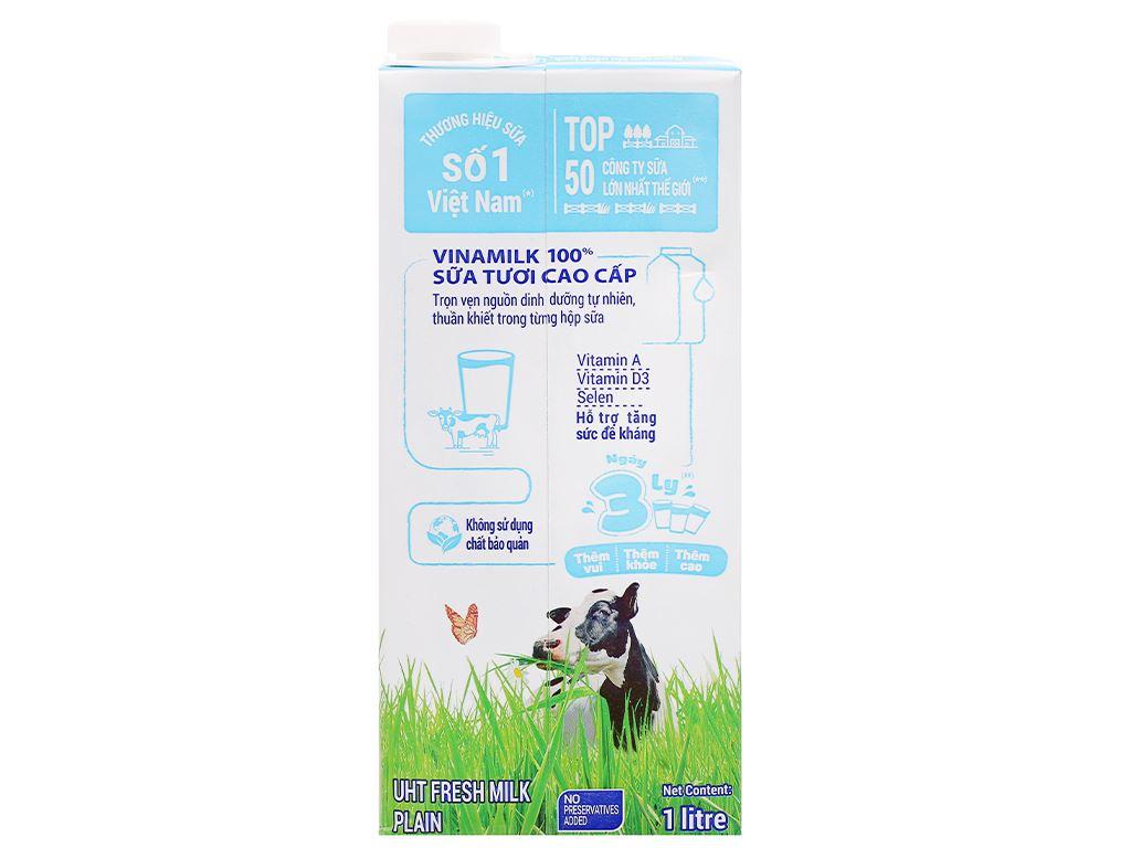 Sữa tươi không đường Vinamilk 100% Sữa Tươi hộp 1 lít 9