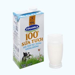 Sữa tươi không đường Vinamilk 100% Sữa Tươi hộp 1 lít