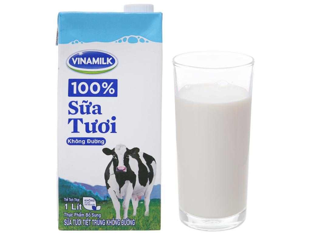 Sữa tươi tiệt trùng Vinamilk 100% Sữa Tươi không đường hộp 1 lít 2