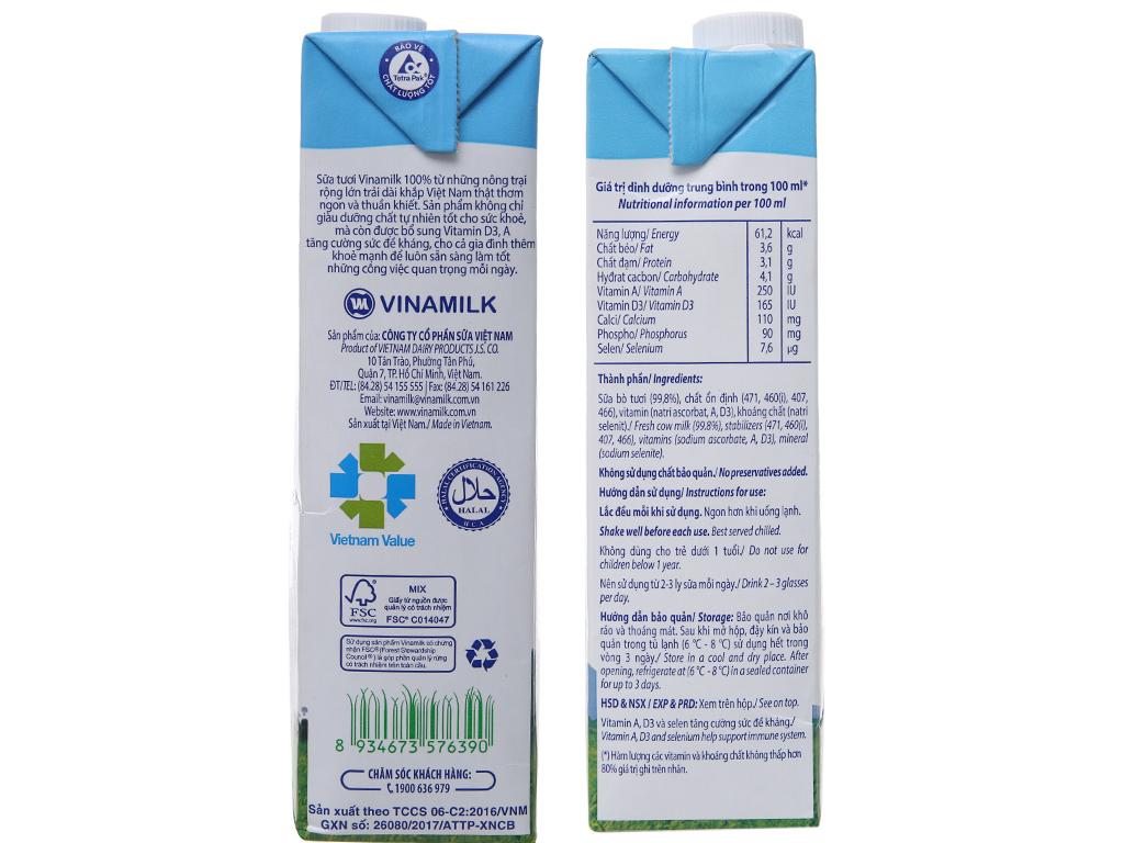 Sữa tươi tiệt trùng Vinamilk 100% Sữa Tươi không đường hộp 1 lít 5