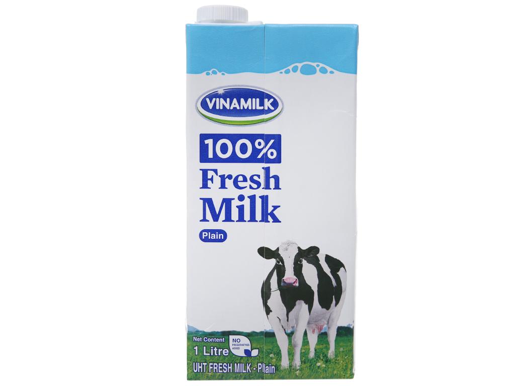 Sữa tươi tiệt trùng Vinamilk 100% Sữa Tươi không đường hộp 1 lít 3