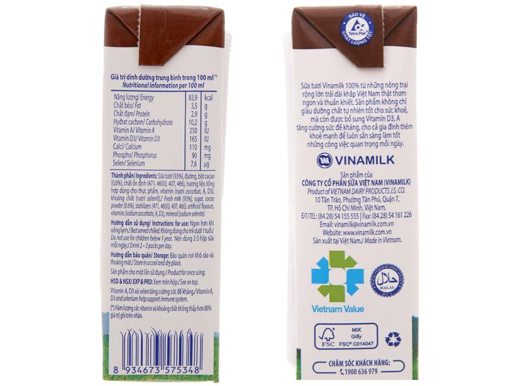 Sữa tươi tiệt trùng Vinamilk sô cô la hộp 180ml 5