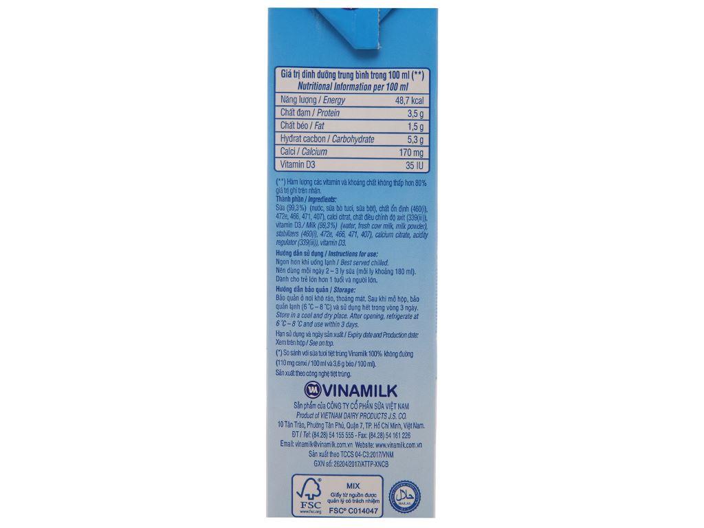 Sữa Vinamilk Flex tăng 50% canxi không đường hộp 1 lít 5
