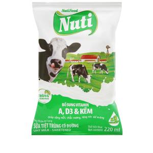 Sữa tiệt trùng có đường Nuti bịch 220ml