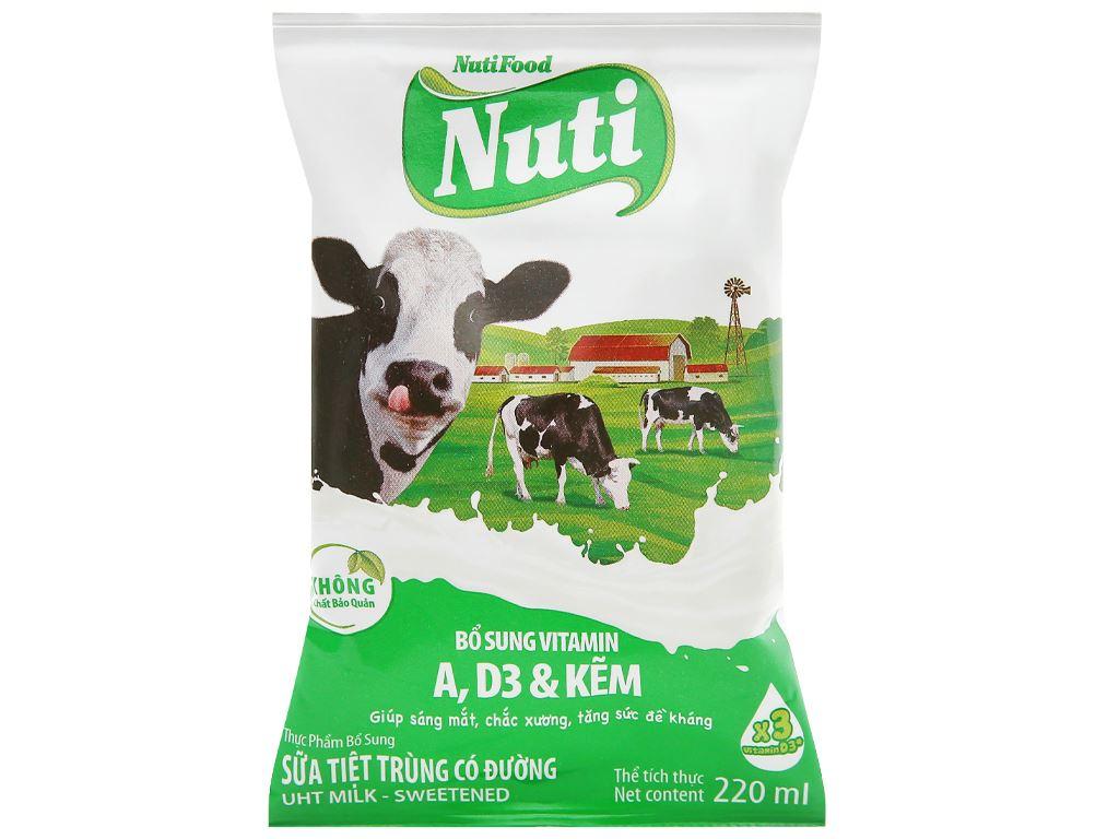 Sữa tiệt trùng có đường Nuti bịch 220ml 1