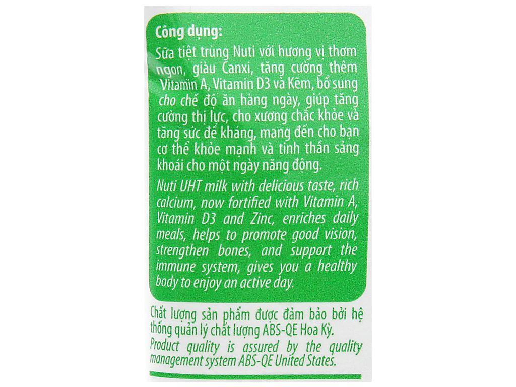 Sữa tiệt trùng có đường Nuti bịch 220ml 4