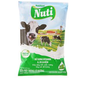 Sữa tiệt trùng Nuti có đường bịch 220ml