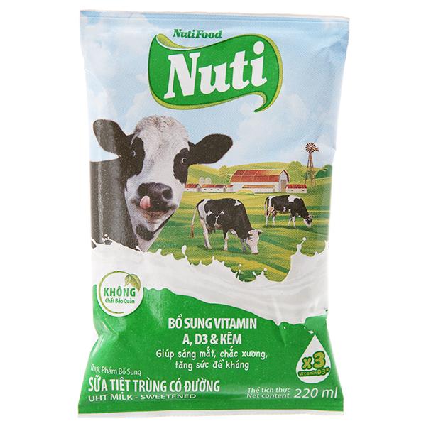 Sữa tiệt trùng NutiFood Nuti có đường bịch 220ml