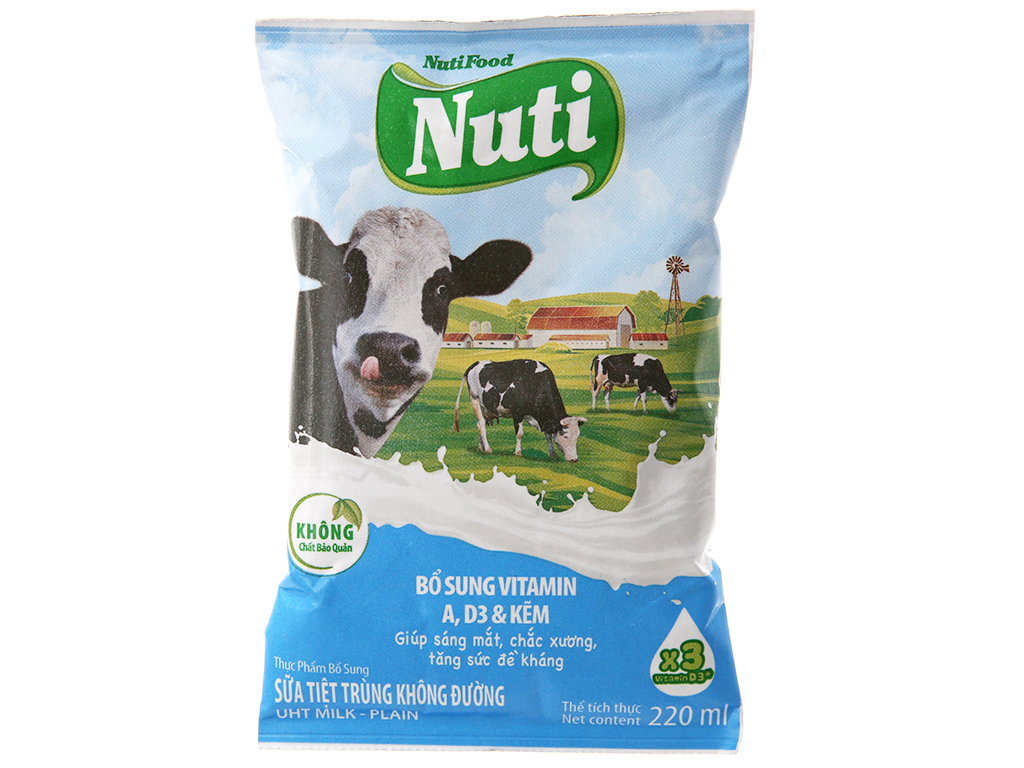 Sữa tiệt trùng Nuti không đường bịch 220ml 2
