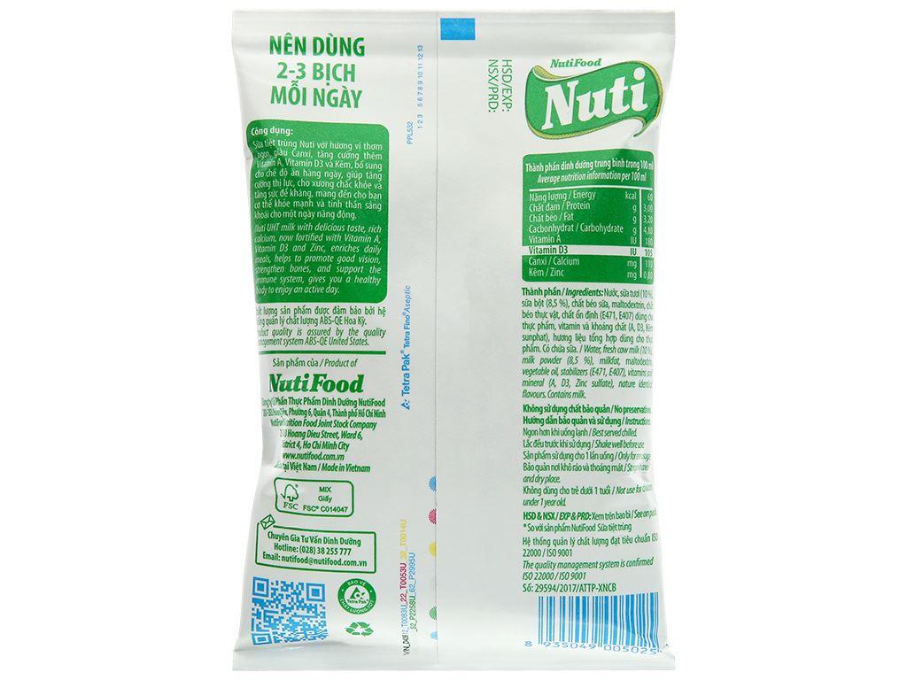 Sữa tiệt trùng không đường Nuti bịch 220ml 2