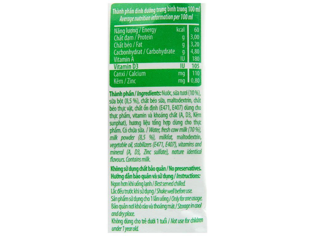 Sữa tiệt trùng không đường Nuti bịch 220ml 3