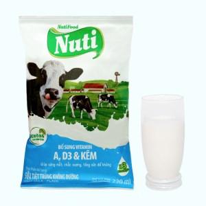 Sữa tiệt trùng không đường Nuti bịch 220ml
