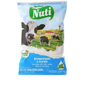 Sữa tiệt trùng Nuti không đường bịch 220ml