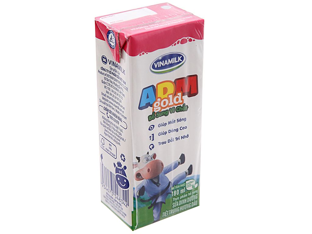 Sữa tiệt trùng Vinamilk ADM Gold hương dâu hộp 180ml 2