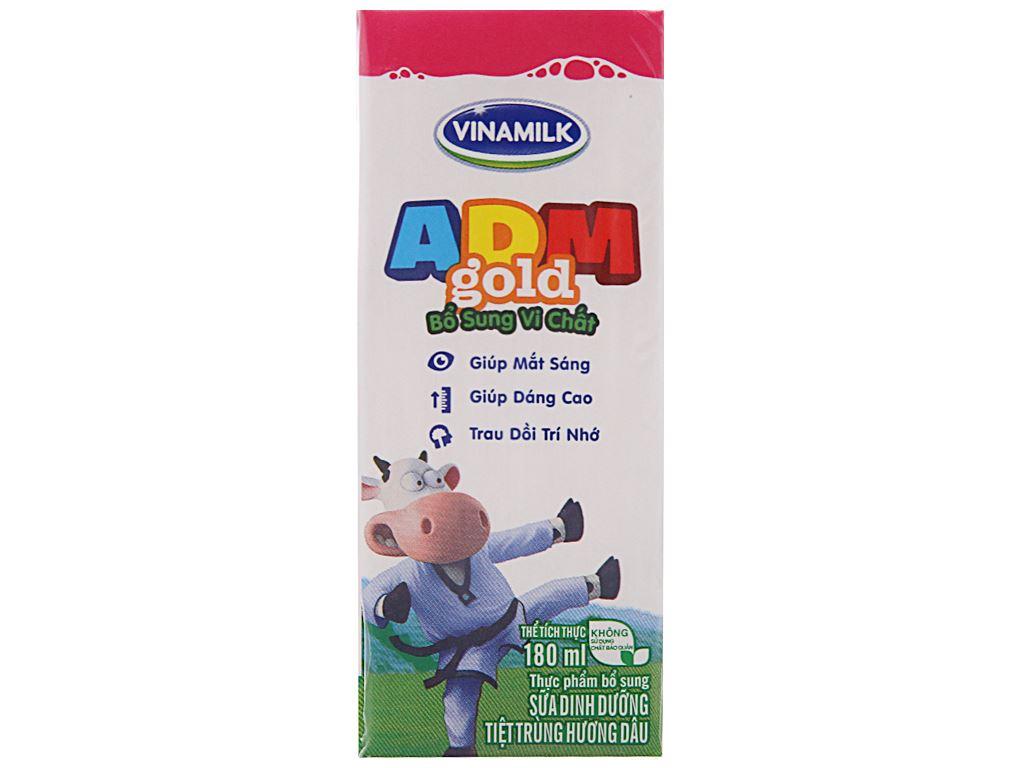 Sữa tiệt trùng Vinamilk ADM Gold hương dâu hộp 180ml 3