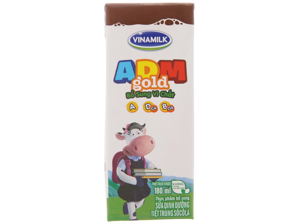 Sữa dinh dưỡng hương socola Vinamilk ADM Gold hộp 180ml 3
