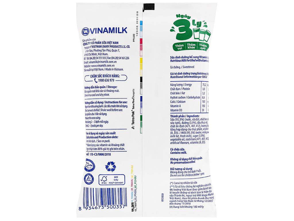 Sữa dinh dưỡng có đường Vinamilk A&D3 bịch 220ml 2