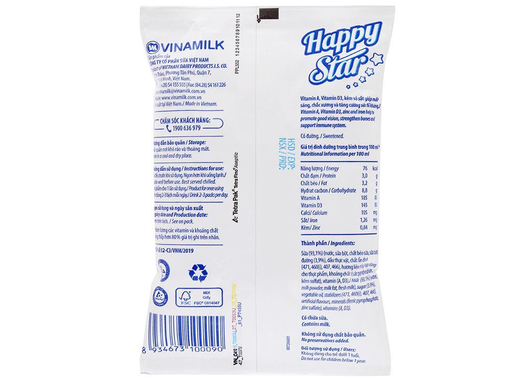Sữa dinh dưỡng có đường Vinamilk Happy Star bịch 220ml 6