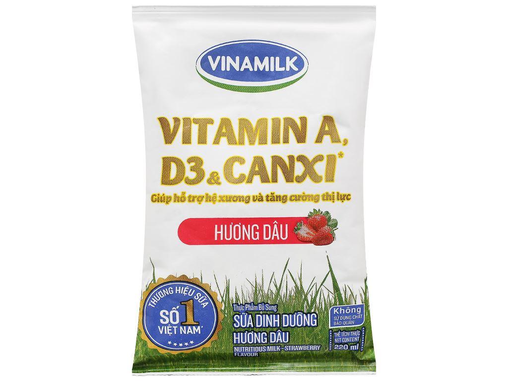 Sữa dinh dưỡng hương dâu Vinamilk A&D3 bịch 220ml 1