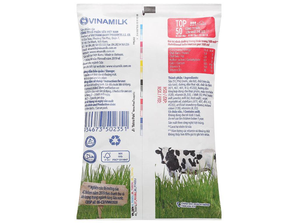 Sữa dinh dưỡng hương dâu Vinamilk A&D3 bịch 220ml 2