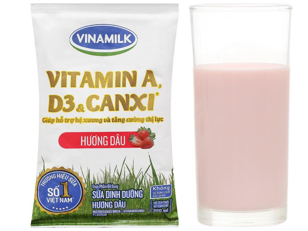 Sữa dinh dưỡng hương dâu Vinamilk A&D3 bịch 220ml 6