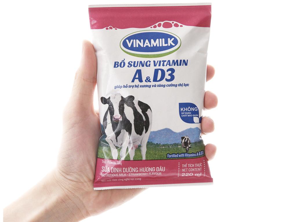 Sữa dinh dưỡng Vinamilk A&D3 hương dâu bịch 220ml 5