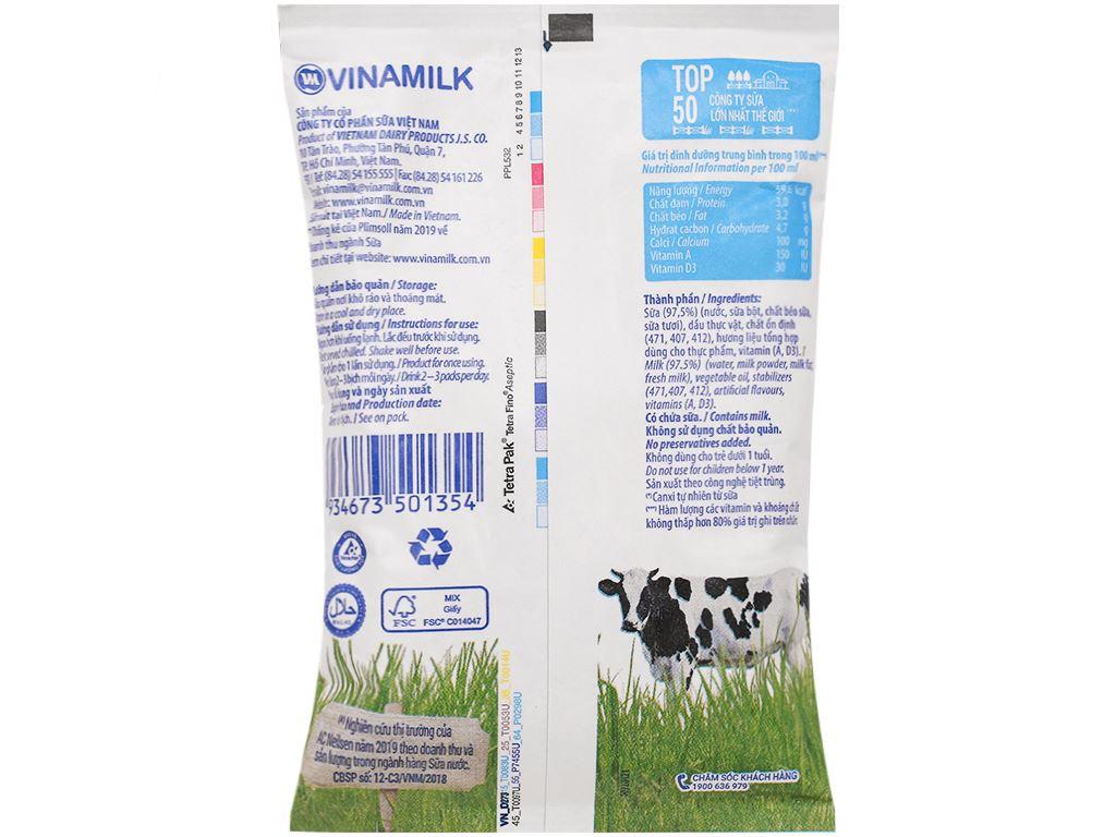 Sữa dinh dưỡng không đường Vinamilk A&D3 bịch 220ml 8