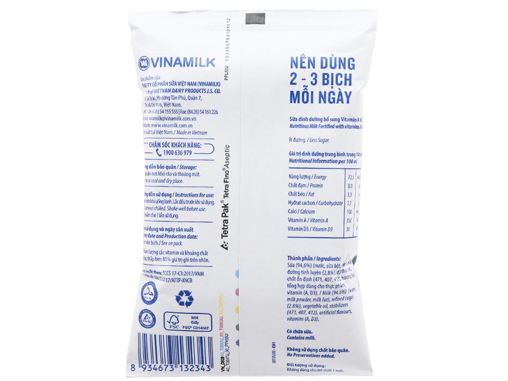 Sữa dinh dưỡng Vinamilk A&D3 không đường bịch 220ml 4