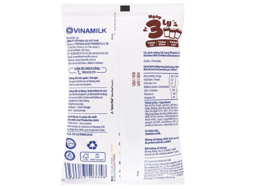 Sữa dinh dưỡng socola Vinamilk A&D3 bịch 220ml 6