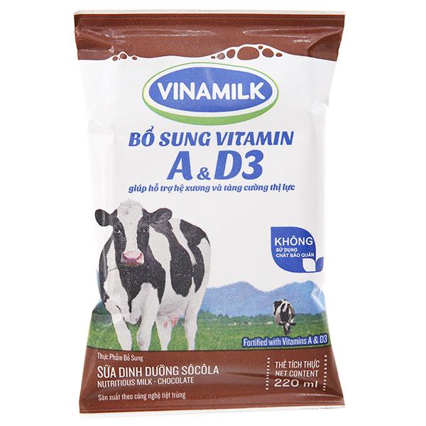 Sữa dinh dưỡng Vinamilk A&D3 sô cô la bịch 220ml