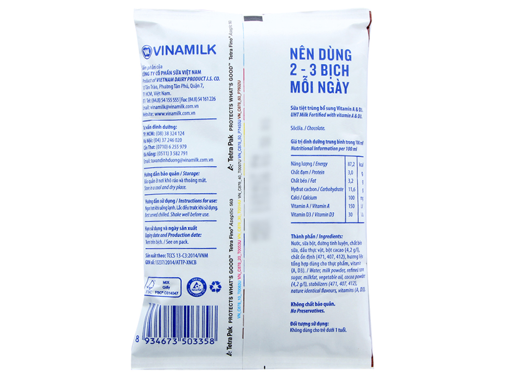 Sữa dinh dưỡng Vinamilk A&D3 sô cô la bịch 220ml 3