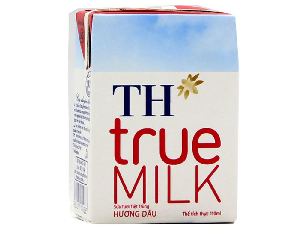 Sữa tươi tiệt trùng TH true MILK hương dâu hộp 110ml 1